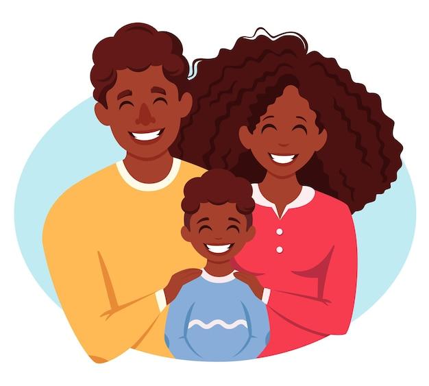 Família afro-americana feliz com filho pais abraçando a criança