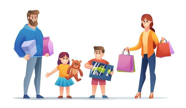 Família alegre comprando um conjunto de personagens de desenhos animados