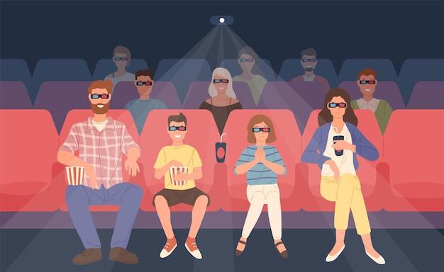 Família alegre sentada em uma sala de cinema estereoscópica ou sala de cinema