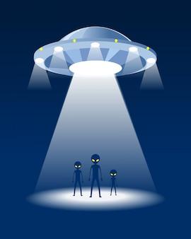 Família alienígena e ovni. fundo da noite.