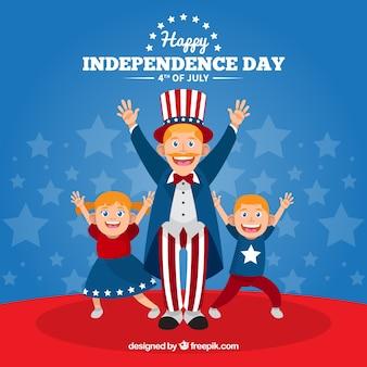 Família americana, comemorando o dia da independência