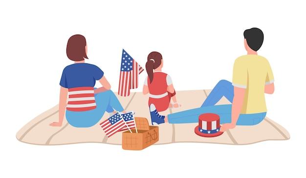 Família americana em personagem de vetor de cor semi plana de 4 de julho. figuras sentadas. pessoas de corpo inteiro em branco. comemoração isolada ilustração de estilo de desenho animado moderno para design gráfico e animação
