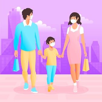 Família andando com máscaras cirúrgicas