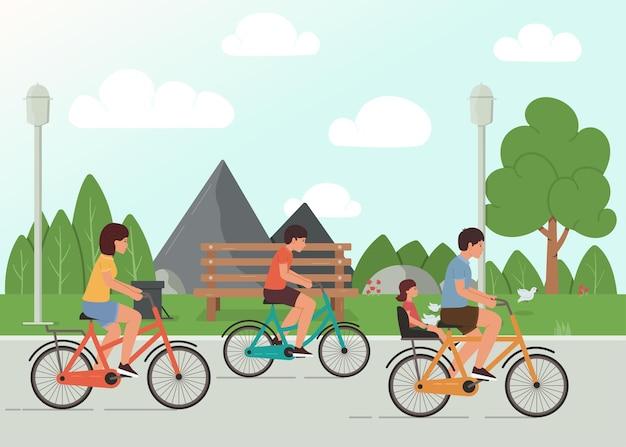Família andando de bicicleta no parque, ilustração de atividade familiar ao ar livre