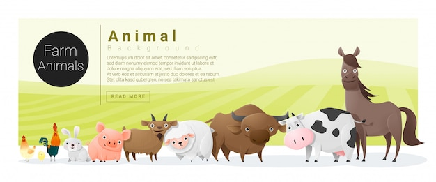 Família animal bonita com animais de fazenda e modelo de texto