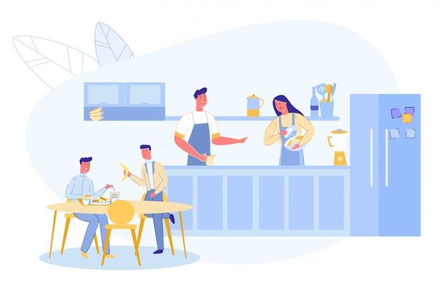 Família antes ou depois do dia útil na cozinha de casa