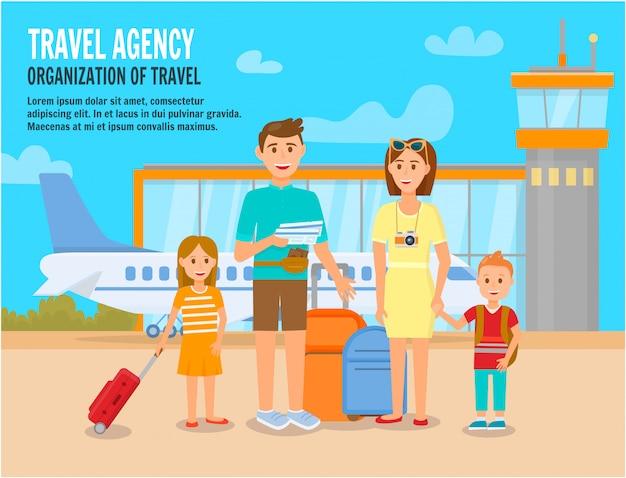 Família, apressando-se a placa de avião na área do aeroporto.
