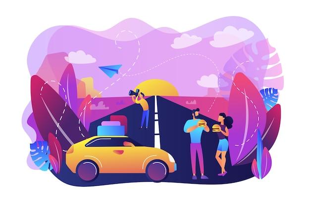 Família aproveitando as férias na ilustração da rodovia interestadual