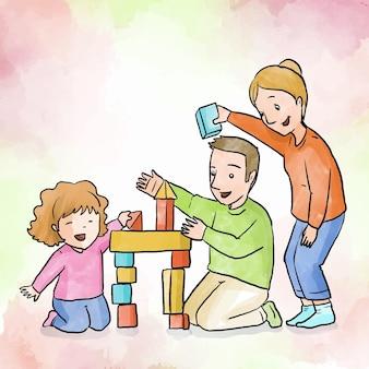 Família, aproveitando o tempo jogando juntos