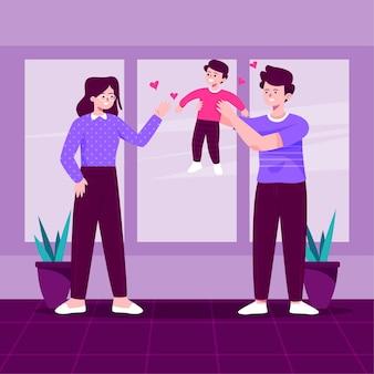 Família, aproveitando o tempo juntos dentro