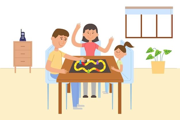 Família, aproveitando o tempo juntos jogando jogo de tabuleiro
