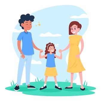 Família, aproveitando o tempo juntos na natureza