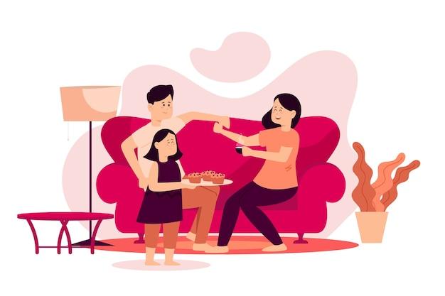 Família, aproveitando o tempo juntos na sala de estar