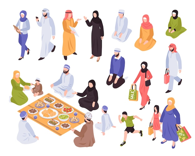 Família árabe com comida tradicional e símbolos comerciais isométrica isolada