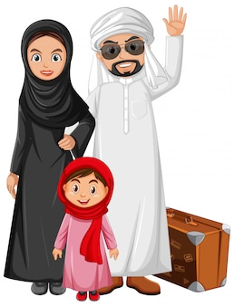 Família árabe com fantasia de personagem árabe