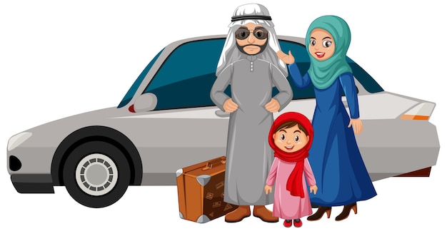 Família árabe de férias com um carro