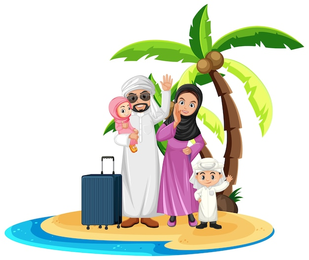 Família árabe de férias