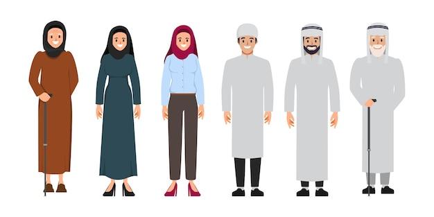 Família árabe e povo muçulmano e homem e mulher de desenho animado saudita