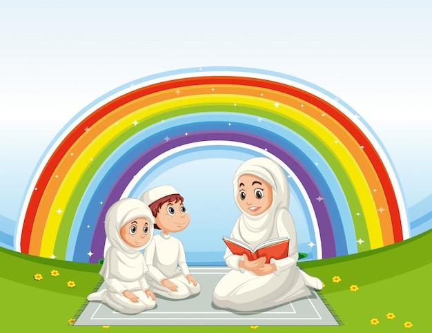 Família árabe em roupas tradicionais com fundo arco-íris