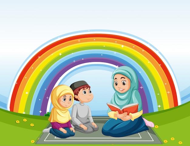 Família árabe em roupas tradicionais e fundo de arco-íris