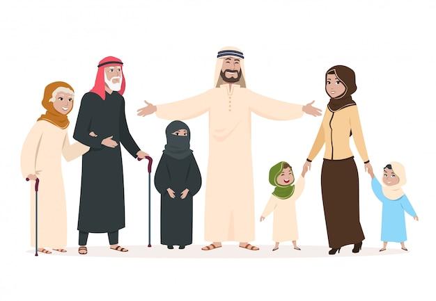 Família árabe mãe e pai muçulmanos, crianças felizes e idosos. personagens de desenhos animados do islã saudita