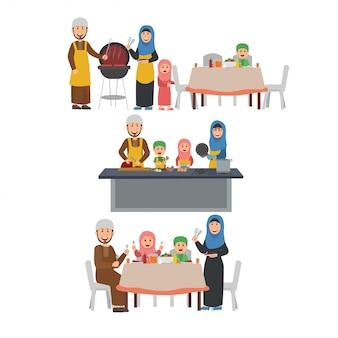 Família árabe, preparando a ilustração de festa de churrasco
