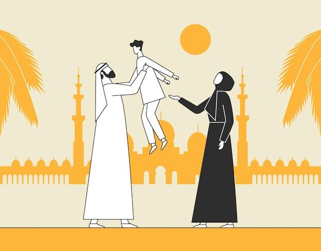 Família árabe tradicional, mesquita muçulmana. homem segurando uma criança, pais com filho.