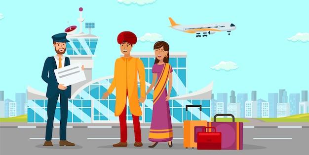 Família asiática na ilustração de cor plana de aeroporto