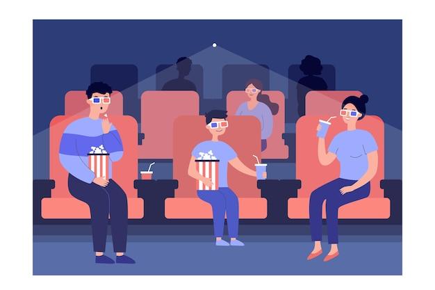 Família assistindo filme com óculos no cinema, sentado em cadeiras com pipoca e refrigerante.