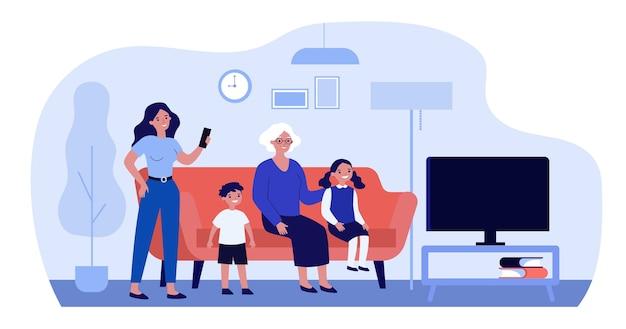Família assistindo tv em casa em design plano