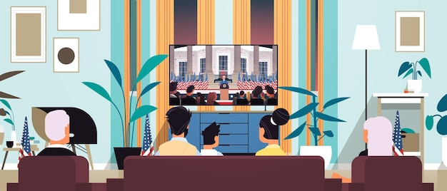 Família assistindo tv presidente democrata vencedor da eleição presidencial dos estados unidos homem fazendo discurso da tribuna conceito do dia da inauguração dos eua ilustração vetorial retrato horizontal