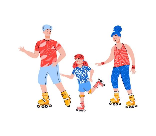 Família ativa com criança andando de patins, plano isolado no fundo branco. esporte familiar e passatempo ativo de lazer juntos.