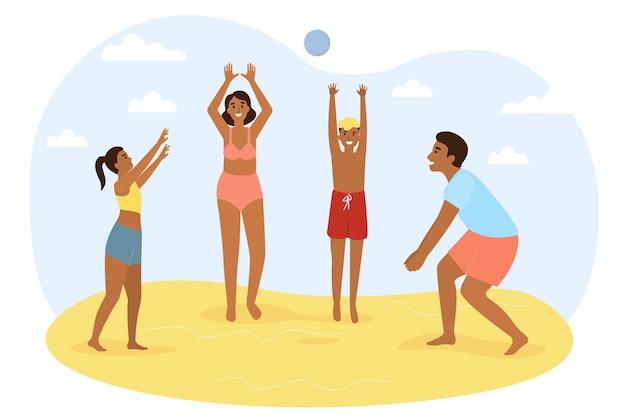 Família ativa, mãe, pai, filho e filha brincam com uma bola na praia férias em família