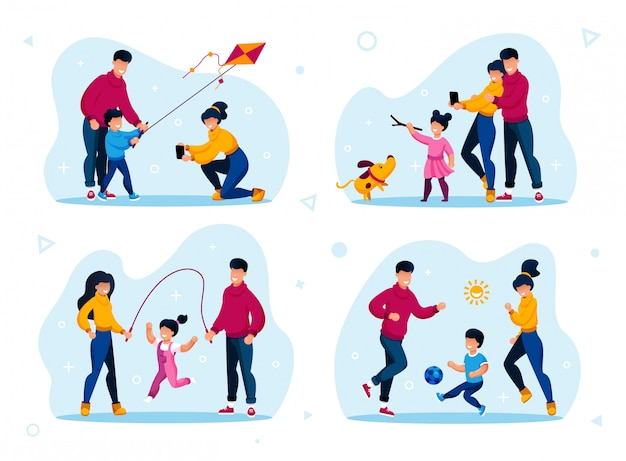 Família atividades ao ar livre tipos flat set