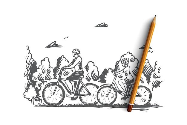 Família, bicicleta, esporte, feliz, conceito de estilo de vida. família desenhada de mão caminhando com esboço de conceito ao ar livre de bicicletas.