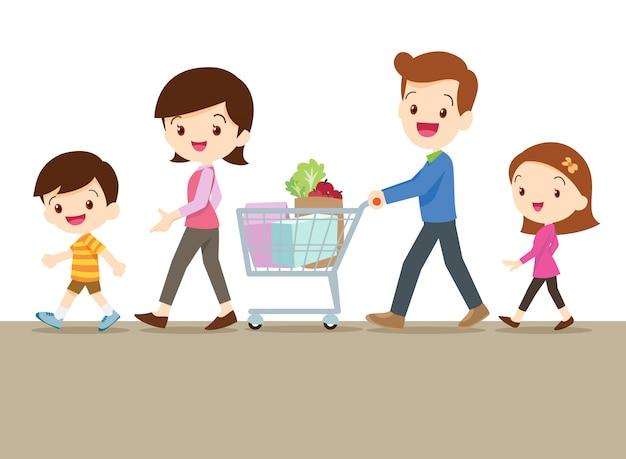 Família bonita comprando juntos