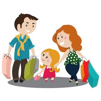 Família bonito dos desenhos animados, compras com sacos
