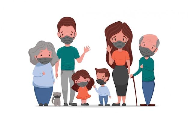 Família branca em máscara facial médica. conceito de quarentena 2020 do coronavírus.