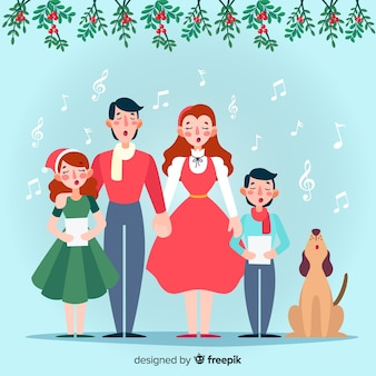 Família, cantando, fundo