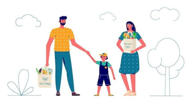 Família carregando sacolas ecológicas naturais com compras. cuidando do meio ambiente, zero desperdício, vegetarianismo ,. mercearia ecológica, cesta de compras amigável e reutilizável com vegetais e frutas
