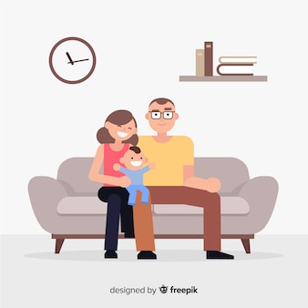 Família, casa, conceito