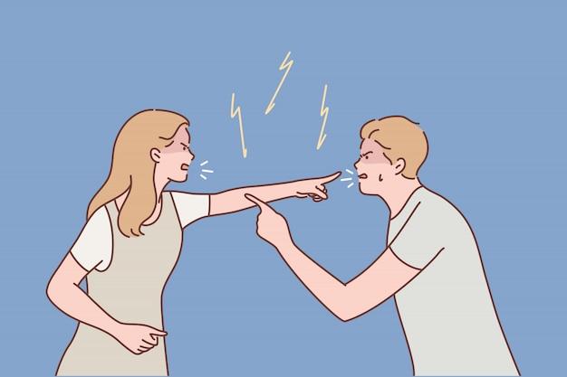 Família, casal, briga, divórcio, agressão, conceito de conflito
