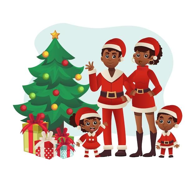 Família celebra o natal com árvore e presentes