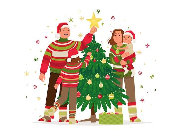 Família celebrando natal