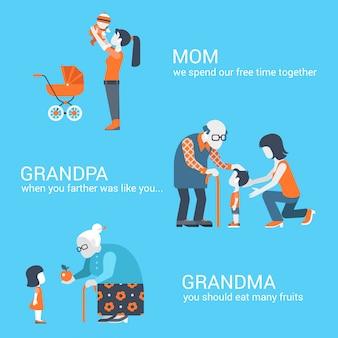 Família cenas crianças com mãe, vovô e avó ilustrações vetoriais.