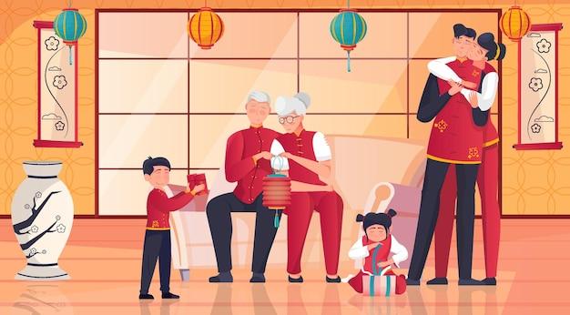 Família chinesa comemorando ano novo juntos desembrulhando presentes em um quarto com ilustração plana tradicional do lado leste