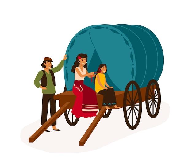 Família cigana sentada na ilustração em vetor plana do vagão. casa sobre rodas, caravana isolada no fundo branco. mãe trança o cabelo da filha. personagens de desenhos animados coloridos de pessoas nômades.