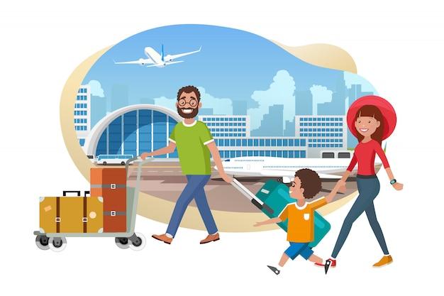 Família, com, bagagem, em, aeroporto, caricatura, vetorial