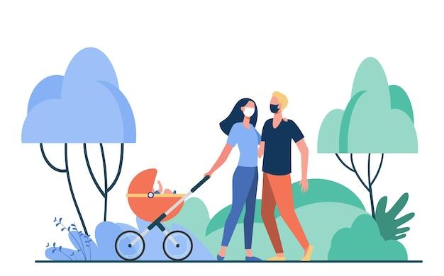 Família com bebê no carrinho de bebê usando máscaras. criança, buggy, ilustração plana do parque