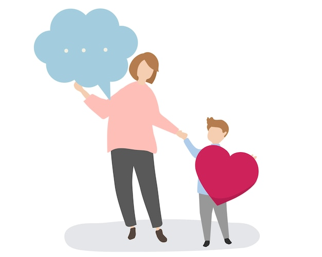 Família, com, bolha discurso, e, coração